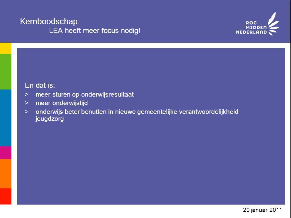 20 januari 2011 Kernboodschap: LEA heeft meer focus nodig.