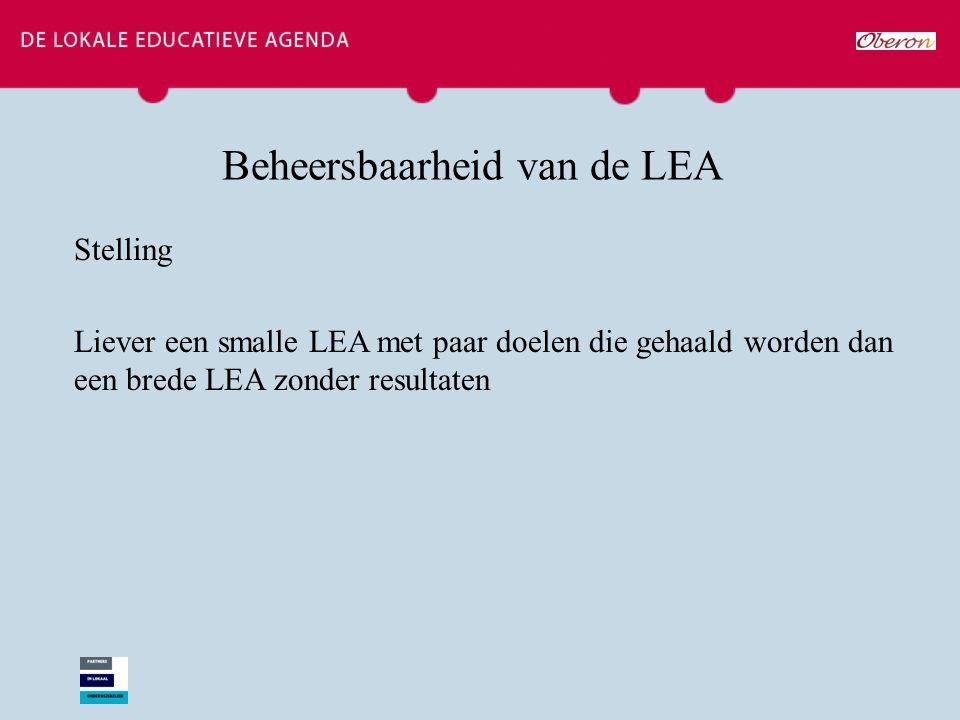 Beheersbaarheid van de LEA Stelling Liever een smalle LEA met paar doelen die gehaald worden dan een brede LEA zonder resultaten
