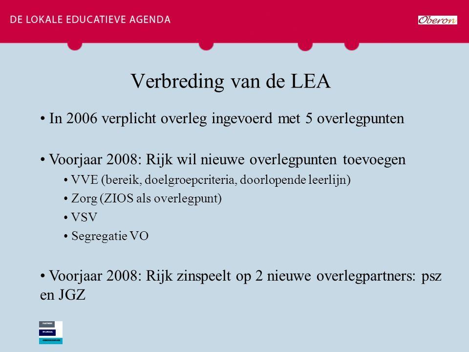 Verbreding van de LEA In 2006 verplicht overleg ingevoerd met 5 overlegpunten Voorjaar 2008: Rijk wil nieuwe overlegpunten toevoegen VVE (bereik, doelgroepcriteria, doorlopende leerlijn) Zorg (ZIOS als overlegpunt) VSV Segregatie VO Voorjaar 2008: Rijk zinspeelt op 2 nieuwe overlegpartners: psz en JGZ