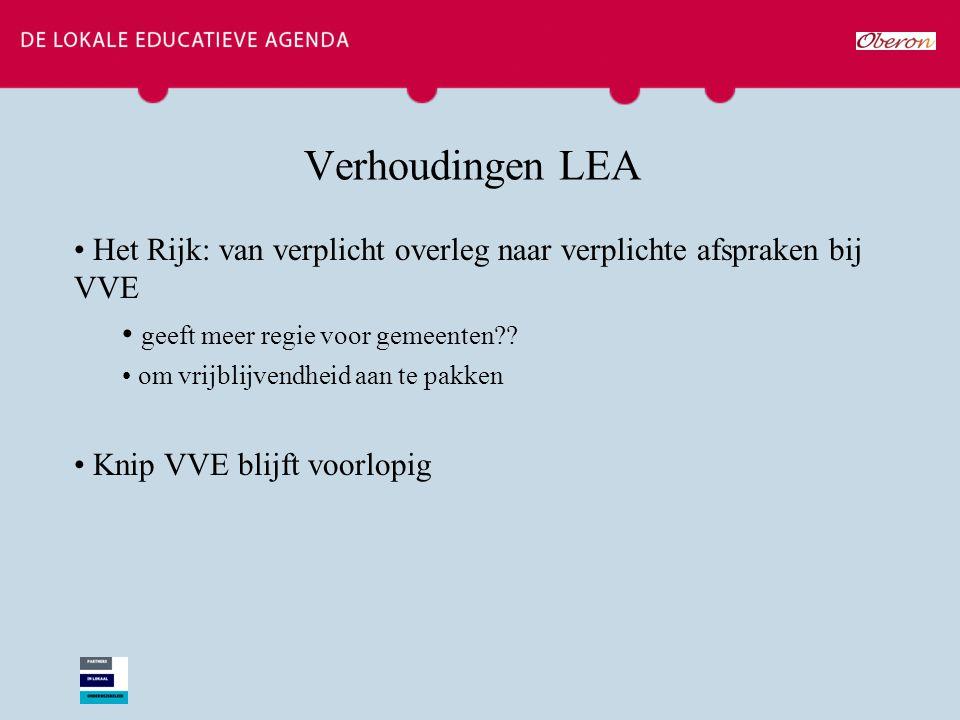 Verhoudingen LEA Het Rijk: van verplicht overleg naar verplichte afspraken bij VVE geeft meer regie voor gemeenten?? om vrijblijvendheid aan te pakken