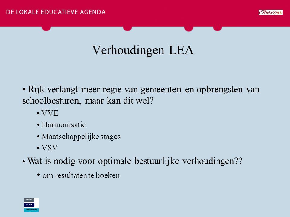 Verhoudingen LEA Rijk verlangt meer regie van gemeenten en opbrengsten van schoolbesturen, maar kan dit wel? VVE Harmonisatie Maatschappelijke stages