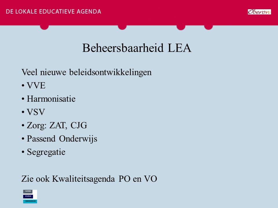 Beheersbaarheid LEA Veel nieuwe beleidsontwikkelingen VVE Harmonisatie VSV Zorg: ZAT, CJG Passend Onderwijs Segregatie Zie ook Kwaliteitsagenda PO en