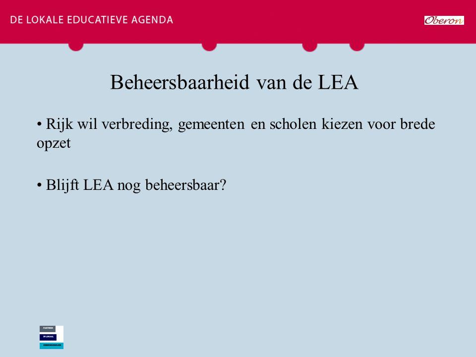 Beheersbaarheid van de LEA Rijk wil verbreding, gemeenten en scholen kiezen voor brede opzet Blijft LEA nog beheersbaar