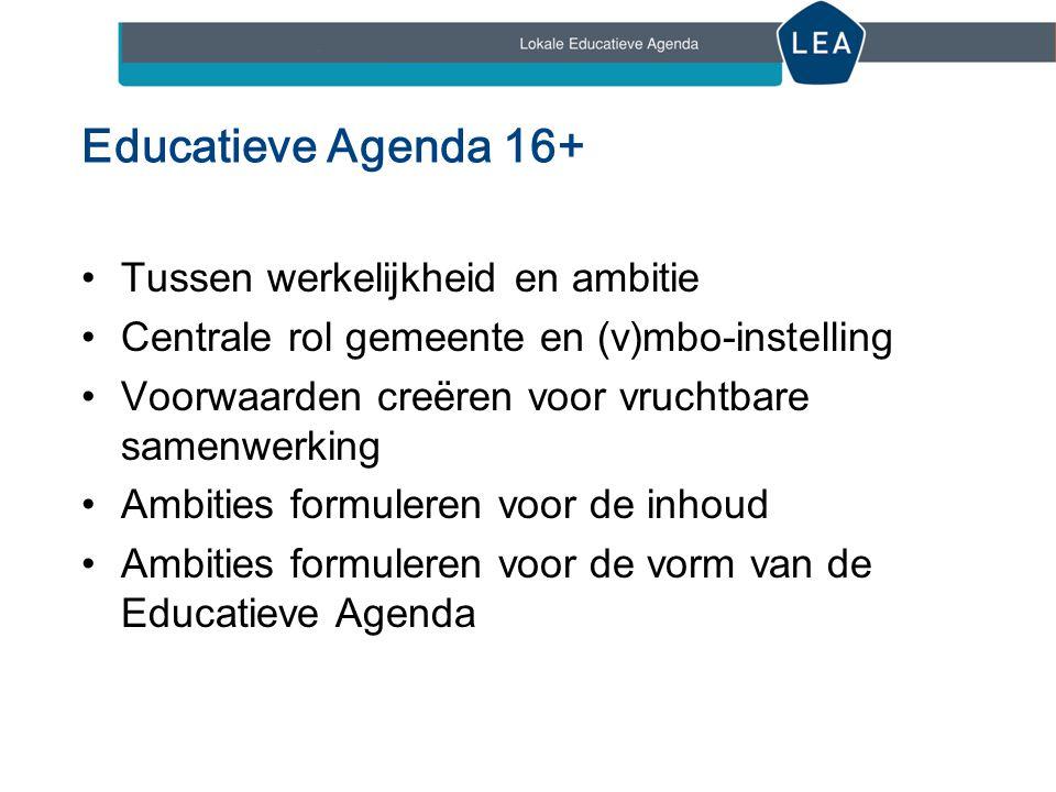 Educatieve Agenda 16+ Tussen werkelijkheid en ambitie Centrale rol gemeente en (v)mbo-instelling Voorwaarden creëren voor vruchtbare samenwerking Ambities formuleren voor de inhoud Ambities formuleren voor de vorm van de Educatieve Agenda