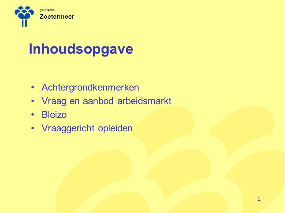 gemeente Zoetermeer Inhoudsopgave Achtergrondkenmerken Vraag en aanbod arbeidsmarkt Bleizo Vraaggericht opleiden 2
