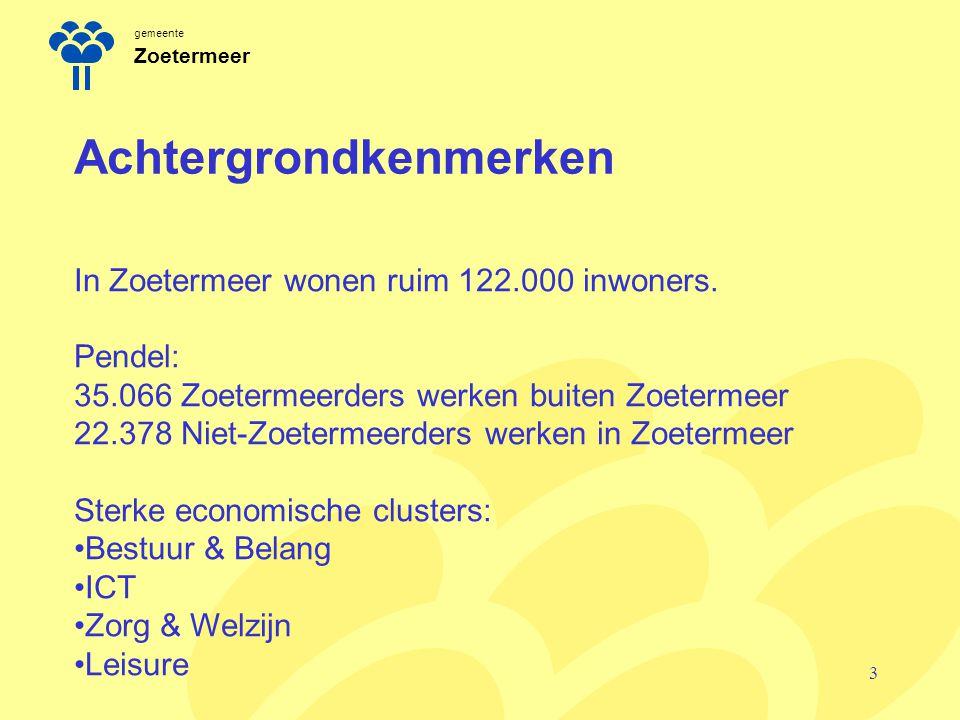 gemeente Zoetermeer Achtergrondkenmerken 3 In Zoetermeer wonen ruim 122.000 inwoners. Pendel: 35.066 Zoetermeerders werken buiten Zoetermeer 22.378 Ni
