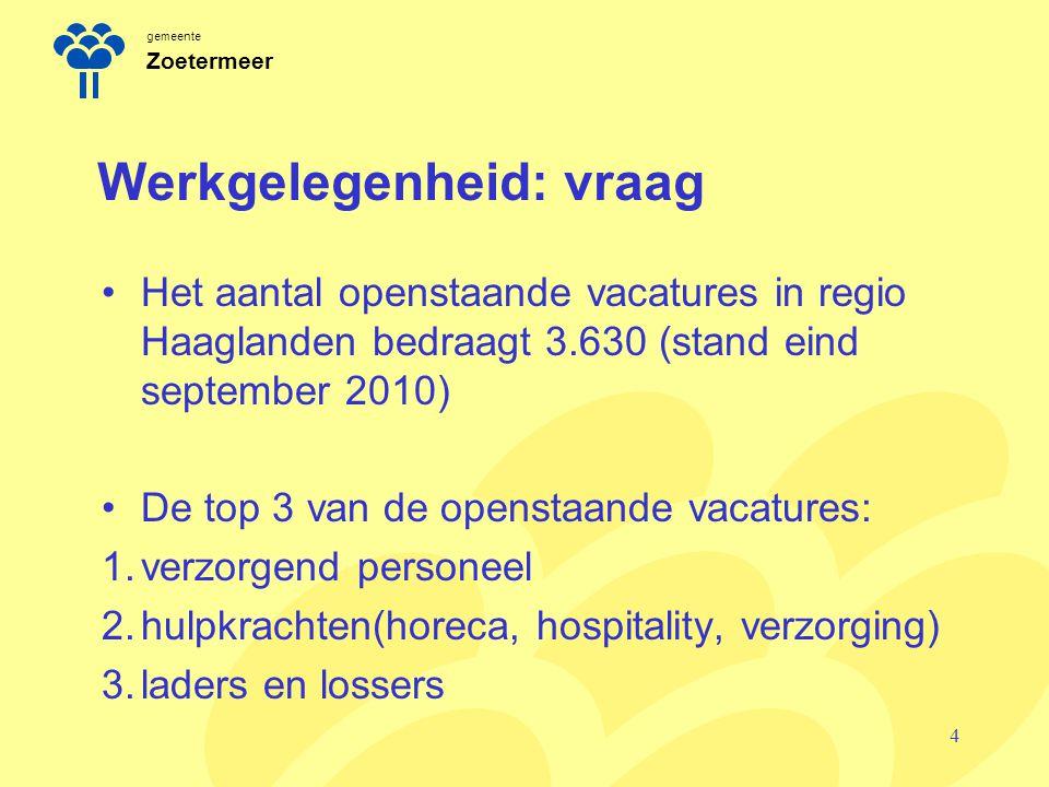 gemeente Zoetermeer Werkgelegenheid: vraag Het aantal openstaande vacatures in regio Haaglanden bedraagt 3.630 (stand eind september 2010) De top 3 van de openstaande vacatures: 1.verzorgend personeel 2.hulpkrachten(horeca, hospitality, verzorging) 3.laders en lossers 4