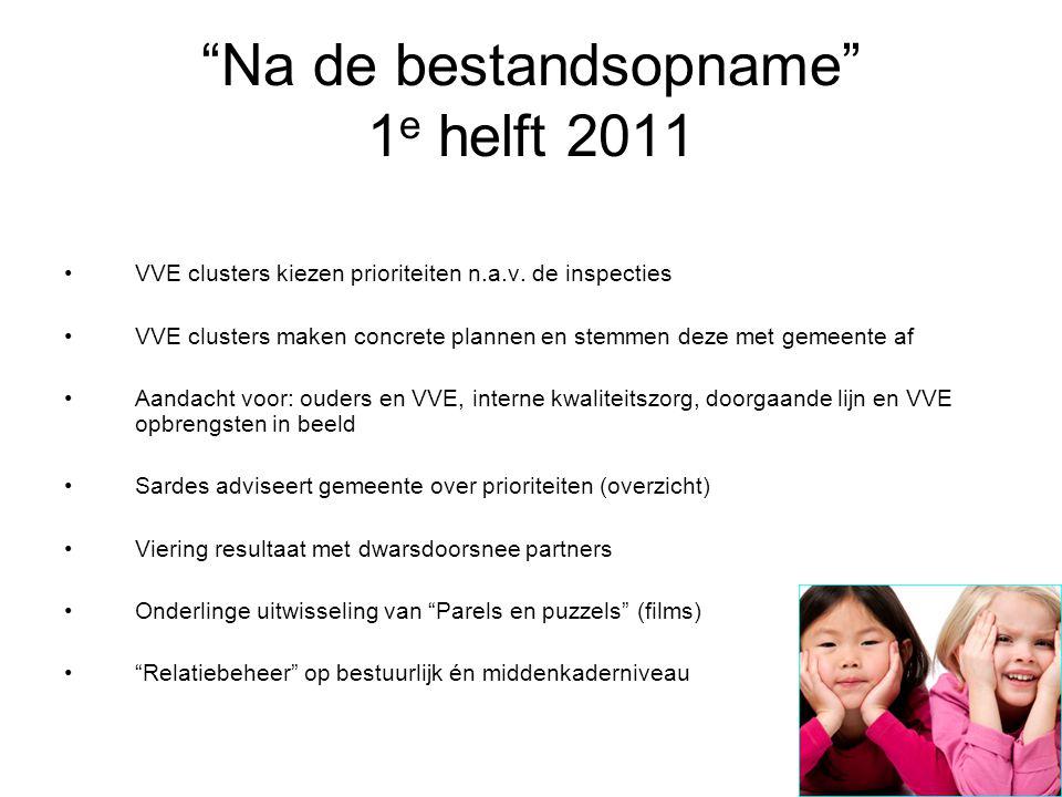 """""""Na de bestandsopname"""" 1 e helft 2011 VVE clusters kiezen prioriteiten n.a.v. de inspecties VVE clusters maken concrete plannen en stemmen deze met ge"""