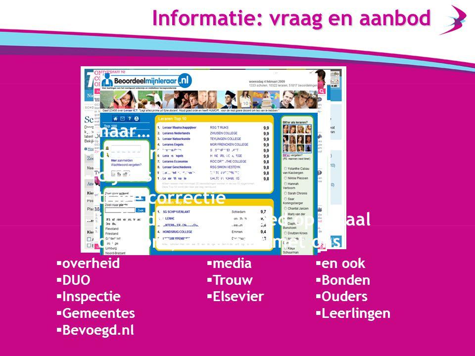 Informatie: vraag en aanbod  overheid  DUO  Inspectie  Gemeentes  Bevoegd.nl  media  Trouw  Elsevier  en ook  Bonden  Ouders  Leerlingen  maar… - onoverzichtelijk - cijfers rammelen - trage correctie - individu heeft invloed op totaal - over ons, maar niet met ons