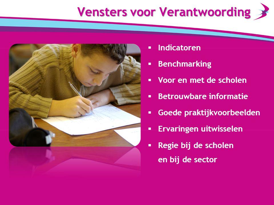  Indicatoren  Benchmarking  Voor en met de scholen  Betrouwbare informatie  Goede praktijkvoorbeelden  Ervaringen uitwisselen  Regie bij de scholen en bij de sector Vensters voor Verantwoording