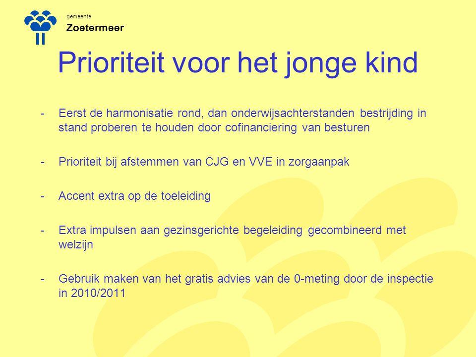 gemeente Zoetermeer Prioriteit voor het jonge kind -Eerst de harmonisatie rond, dan onderwijsachterstanden bestrijding in stand proberen te houden doo