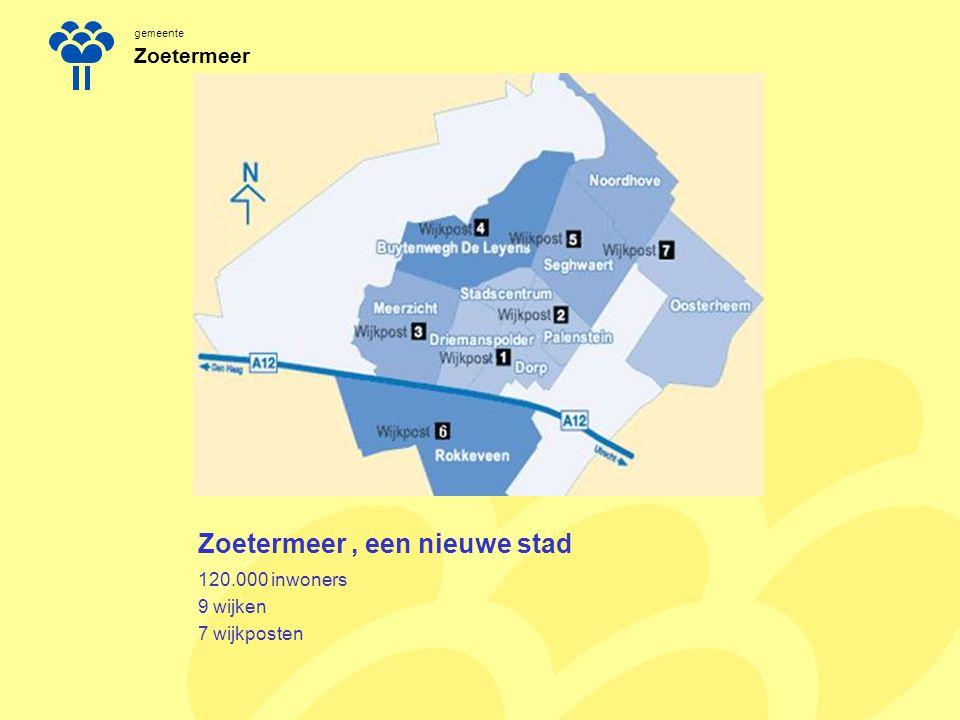 gemeente Zoetermeer Zoetermeer, een nieuwe stad 2 schoolbesturen met 46 scholen voor primair onderwijs 2 grote kinderopvanginstellingen en ongeveer 7 kleinere peuterspeelzaalinstellingen en 17 kinderopvangorganisaties