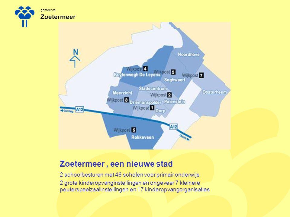 gemeente Zoetermeer Zoetermeer, een nieuwe stad 2 schoolbesturen met 46 scholen voor primair onderwijs 2 grote kinderopvanginstellingen en ongeveer 7