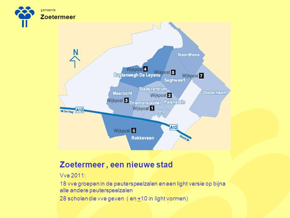 gemeente Zoetermeer Zoetermeer, een nieuwe stad Vve 2011: 18 vve groepen in de peuterspeelzalen en een light versie op bijna alle andere peuterspeelza