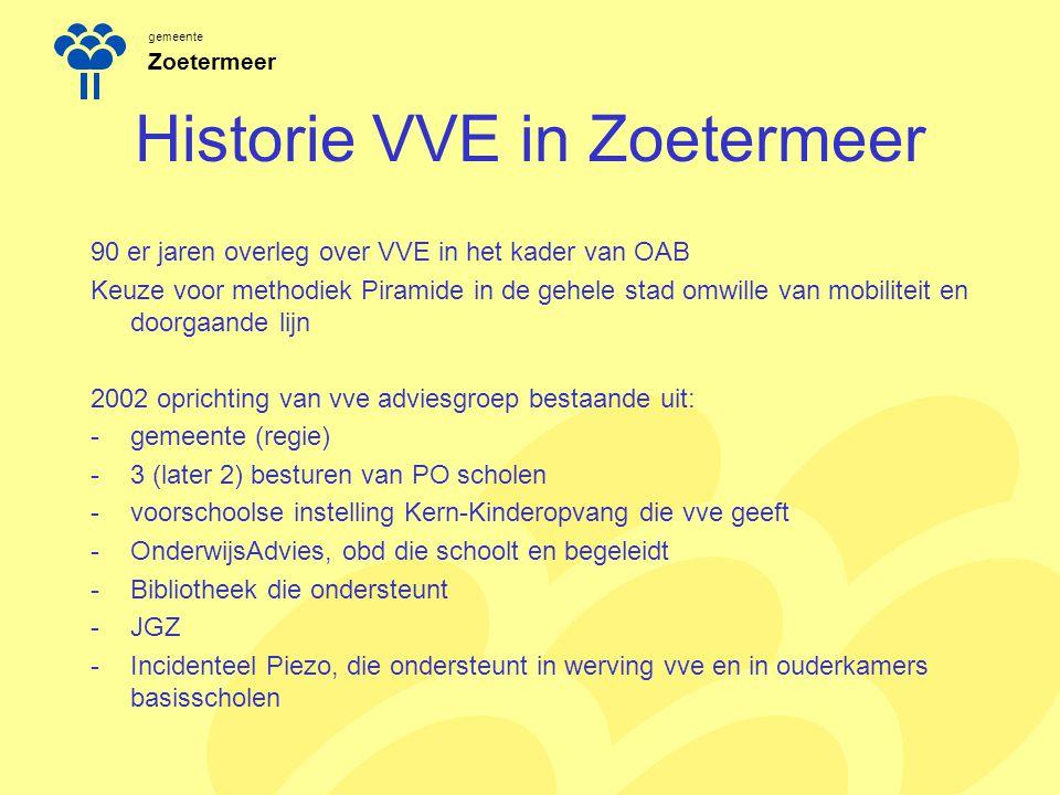 gemeente Zoetermeer Historie VVE in Zoetermeer 90 er jaren overleg over VVE in het kader van OAB Keuze voor methodiek Piramide in de gehele stad omwil