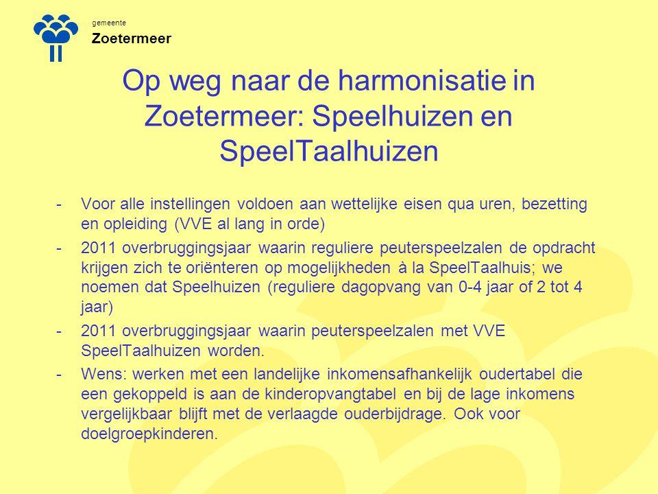 gemeente Zoetermeer Op weg naar de harmonisatie in Zoetermeer: Speelhuizen en SpeelTaalhuizen -Voor alle instellingen voldoen aan wettelijke eisen qua