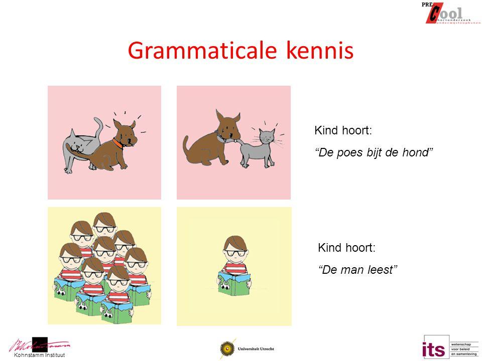 """Kohnstamm Instituut Grammaticale kennis Kind hoort: """"De poes bijt de hond"""" Kind hoort: """"De man leest"""""""