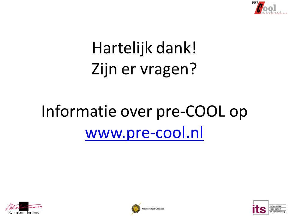 Kohnstamm Instituut Hartelijk dank! Zijn er vragen? Informatie over pre-COOL op www.pre-cool.nl www.pre-cool.nl