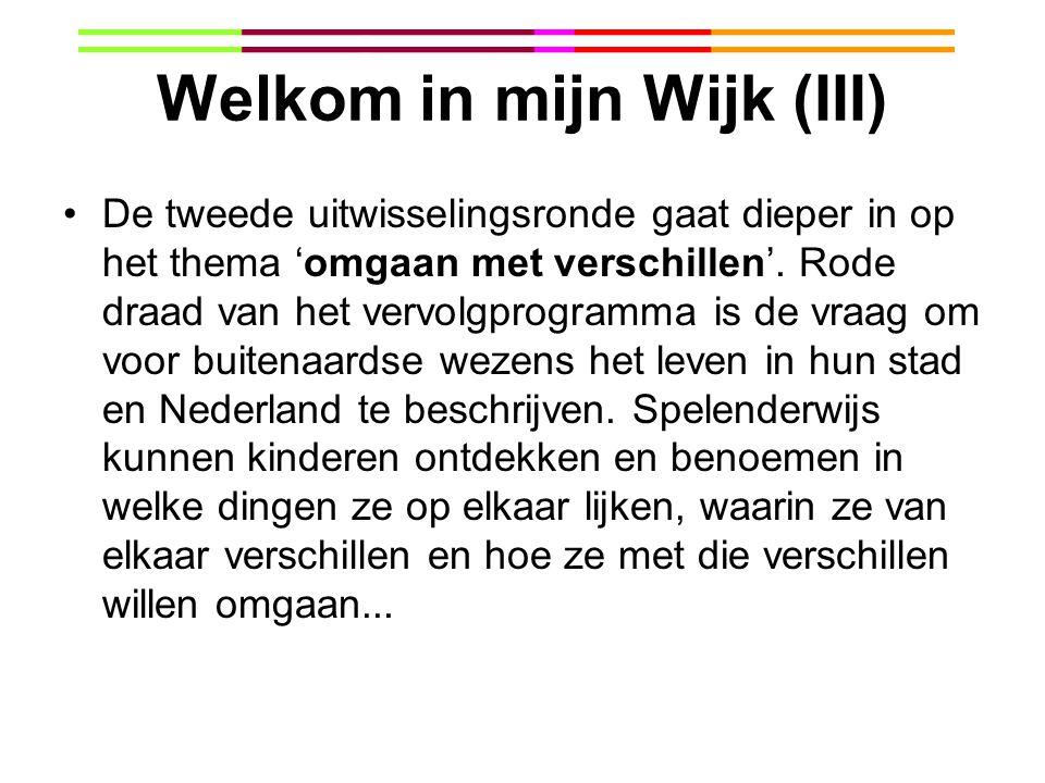 Welkom in mijn Wijk (III) De tweede uitwisselingsronde gaat dieper in op het thema 'omgaan met verschillen'. Rode draad van het vervolgprogramma is de
