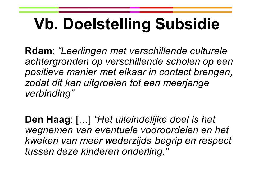"""Vb. Doelstelling Subsidie Rdam: """"Leerlingen met verschillende culturele achtergronden op verschillende scholen op een positieve manier met elkaar in c"""