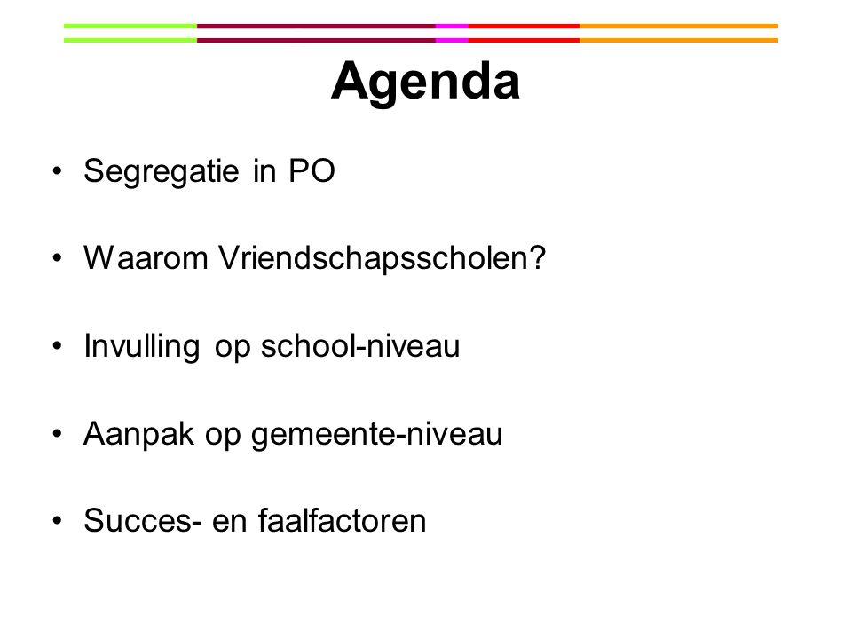 Agenda Segregatie in PO Waarom Vriendschapsscholen? Invulling op school-niveau Aanpak op gemeente-niveau Succes- en faalfactoren