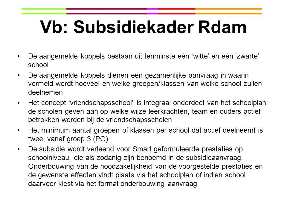 Vb: Subsidiekader Rdam De aangemelde koppels bestaan uit tenminste één 'witte' en één 'zwarte' school De aangemelde koppels dienen een gezamenlijke aa