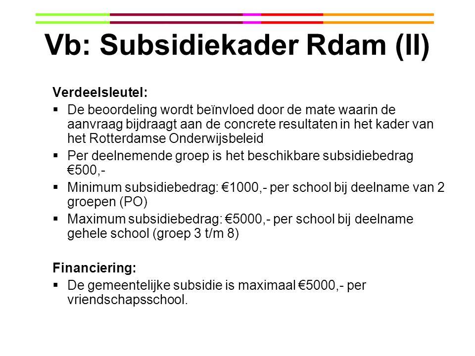 Vb: Subsidiekader Rdam (II) Verdeelsleutel:  De beoordeling wordt beïnvloed door de mate waarin de aanvraag bijdraagt aan de concrete resultaten in h