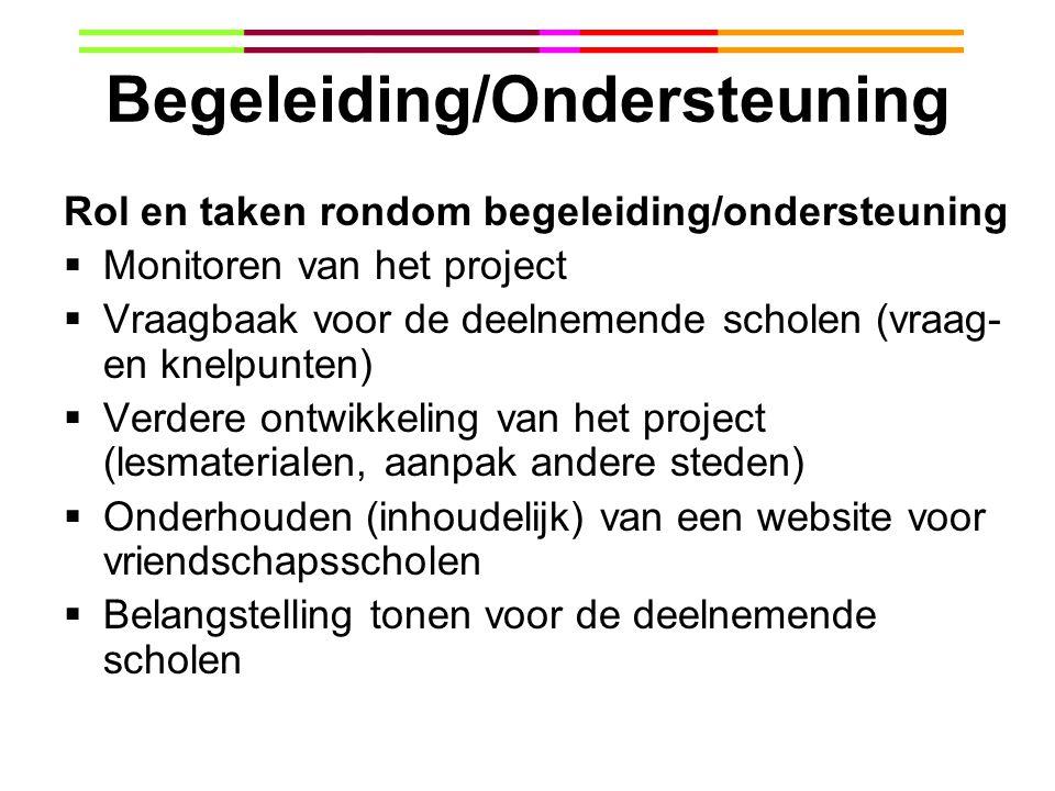Begeleiding/Ondersteuning Rol en taken rondom begeleiding/ondersteuning  Monitoren van het project  Vraagbaak voor de deelnemende scholen (vraag- en