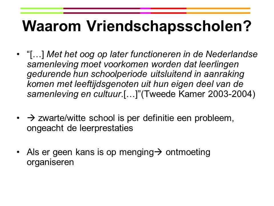 """Waarom Vriendschapsscholen? """"[…] Met het oog op later functioneren in de Nederlandse samenleving moet voorkomen worden dat leerlingen gedurende hun sc"""