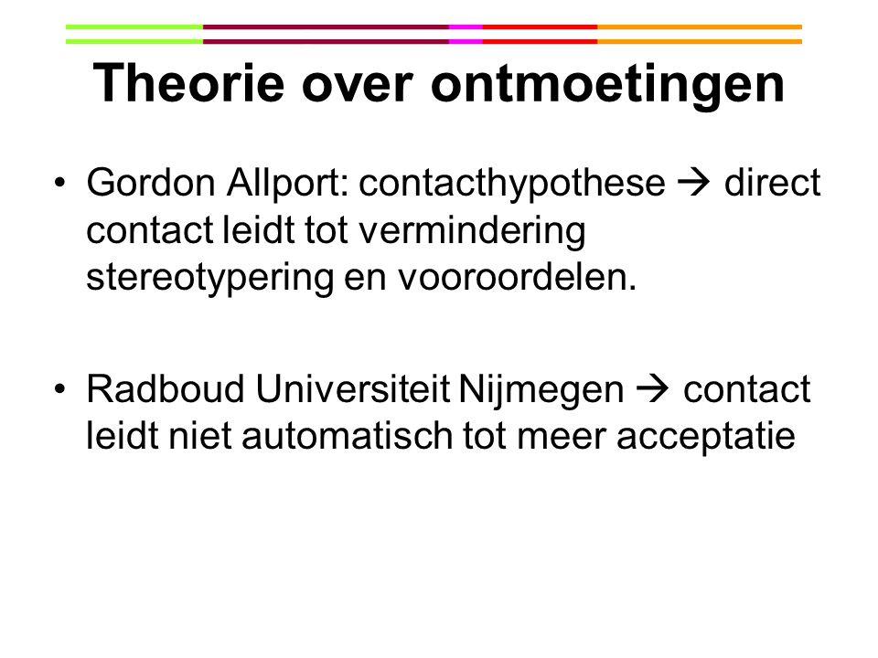 Theorie over ontmoetingen Gordon Allport: contacthypothese  direct contact leidt tot vermindering stereotypering en vooroordelen. Radboud Universitei