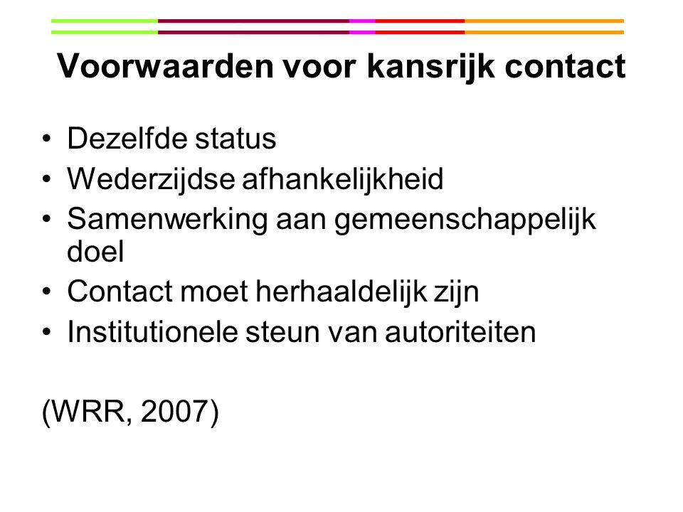 Voorwaarden voor kansrijk contact Dezelfde status Wederzijdse afhankelijkheid Samenwerking aan gemeenschappelijk doel Contact moet herhaaldelijk zijn