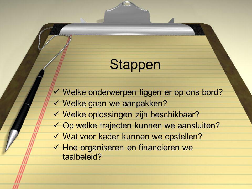 Welke taalonderwerpen op ons bord.VVE Schakelklassen Eigen keuzes, bijv.