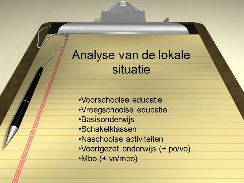 Analyse van de lokale situatie Voorschoolse educatie Vroegschoolse educatie Basisonderwijs Schakelklassen Naschoolse activiteiten Voortgezet onderwijs (+ po/vo) Mbo (+ vo/mbo)