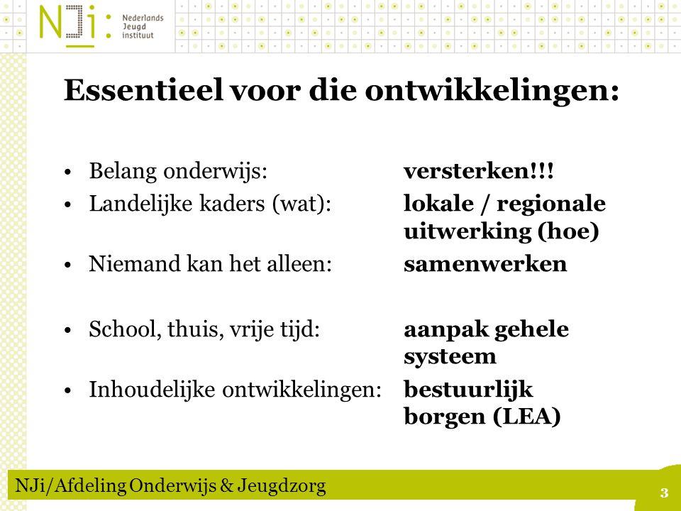 3 NJi/Afdeling Onderwijs & Jeugdzorg Essentieel voor die ontwikkelingen: Belang onderwijs:versterken!!.