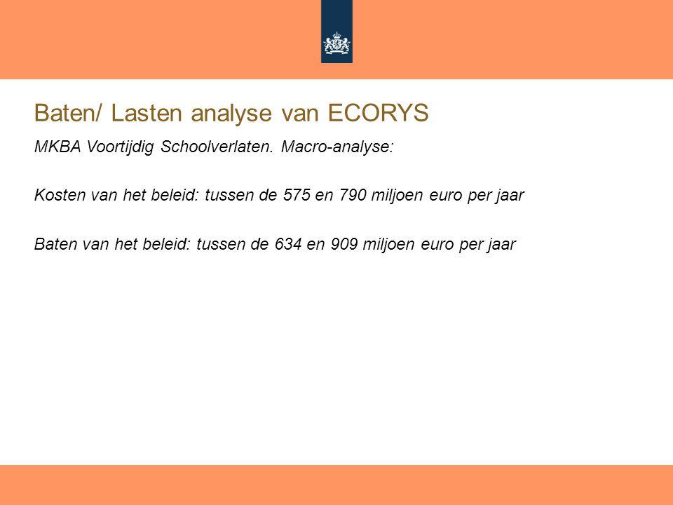 Baten/ Lasten analyse van ECORYS MKBA Voortijdig Schoolverlaten. Macro-analyse: Kosten van het beleid: tussen de 575 en 790 miljoen euro per jaar Bate