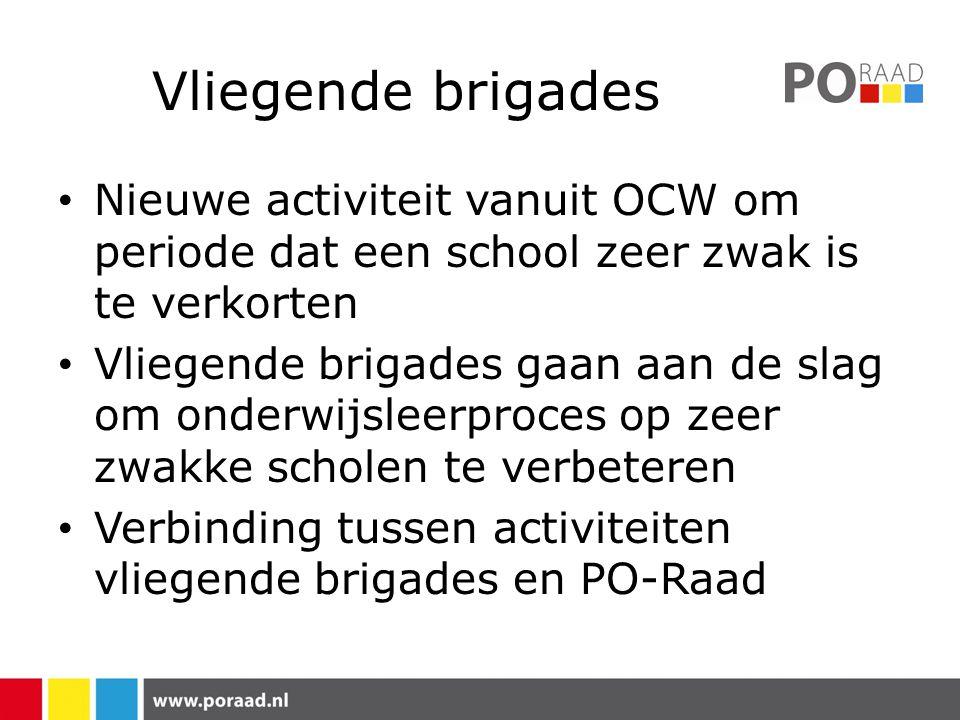 Vliegende brigades Nieuwe activiteit vanuit OCW om periode dat een school zeer zwak is te verkorten Vliegende brigades gaan aan de slag om onderwijsle