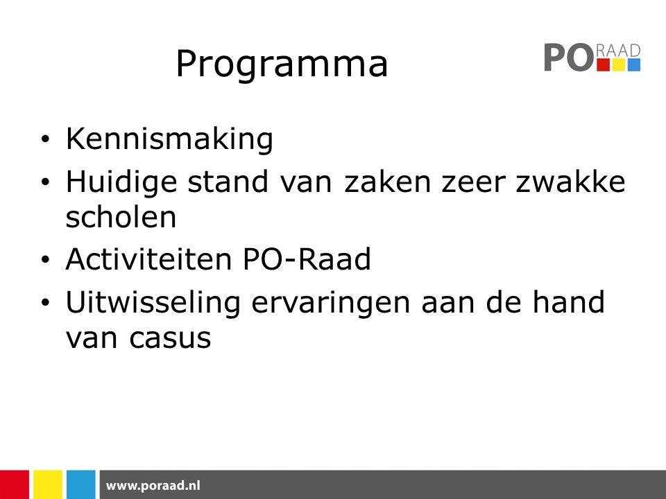 Programma Kennismaking Huidige stand van zaken zeer zwakke scholen Activiteiten PO-Raad Uitwisseling ervaringen aan de hand van casus