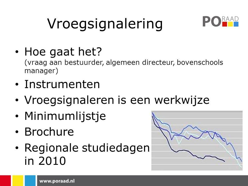 Vroegsignalering Hoe gaat het? (vraag aan bestuurder, algemeen directeur, bovenschools manager) Instrumenten Vroegsignaleren is een werkwijze Minimuml