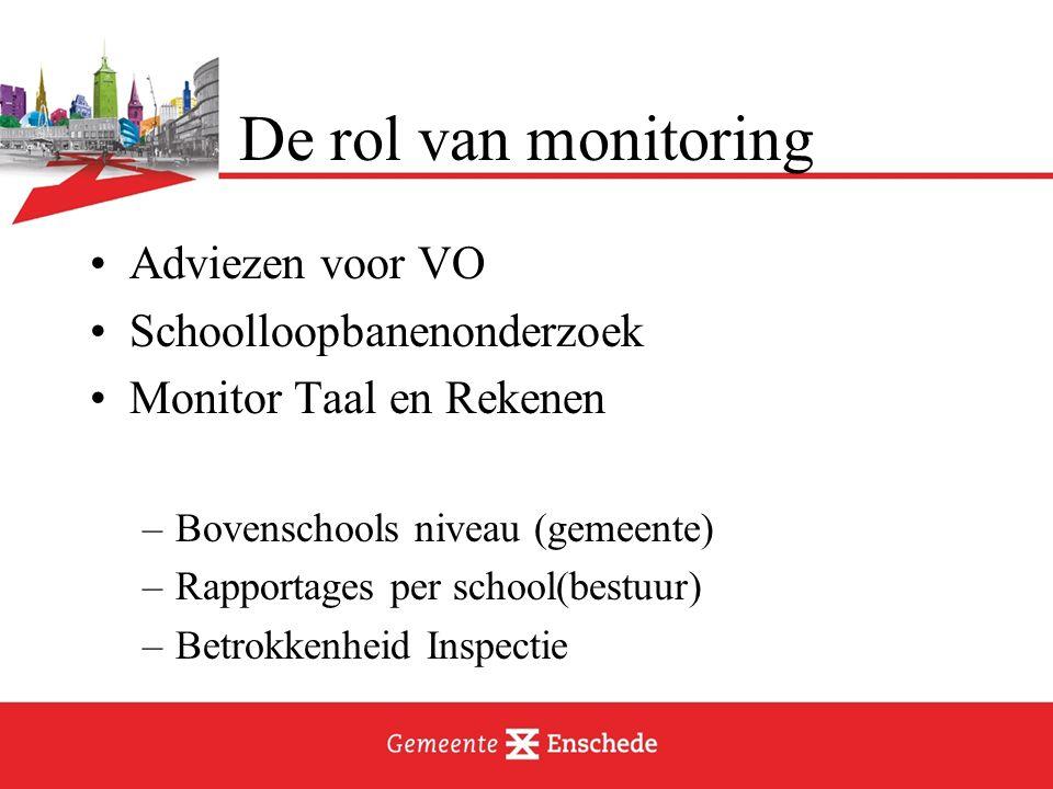De rol van monitoring Adviezen voor VO Schoolloopbanenonderzoek Monitor Taal en Rekenen –Bovenschools niveau (gemeente) –Rapportages per school(bestuur) –Betrokkenheid Inspectie