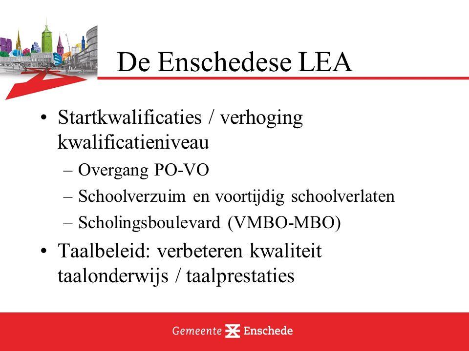 Startkwalificaties / verhoging kwalificatieniveau –Overgang PO-VO –Schoolverzuim en voortijdig schoolverlaten –Scholingsboulevard (VMBO-MBO) Taalbeleid: verbeteren kwaliteit taalonderwijs / taalprestaties