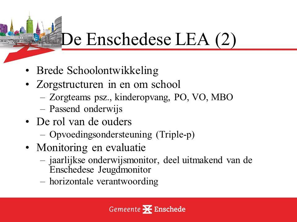 De Enschedese LEA (2) Brede Schoolontwikkeling Zorgstructuren in en om school –Zorgteams psz., kinderopvang, PO, VO, MBO –Passend onderwijs De rol van de ouders –Opvoedingsondersteuning (Triple-p) Monitoring en evaluatie –jaarlijkse onderwijsmonitor, deel uitmakend van de Enschedese Jeugdmonitor –horizontale verantwoording