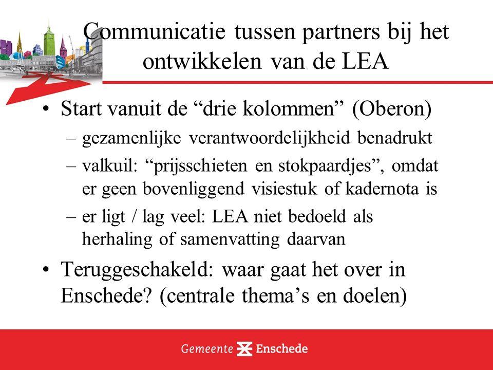 Communicatie tussen partners bij het ontwikkelen van de LEA Start vanuit de drie kolommen (Oberon) –gezamenlijke verantwoordelijkheid benadrukt –valkuil: prijsschieten en stokpaardjes , omdat er geen bovenliggend visiestuk of kadernota is –er ligt / lag veel: LEA niet bedoeld als herhaling of samenvatting daarvan Teruggeschakeld: waar gaat het over in Enschede.