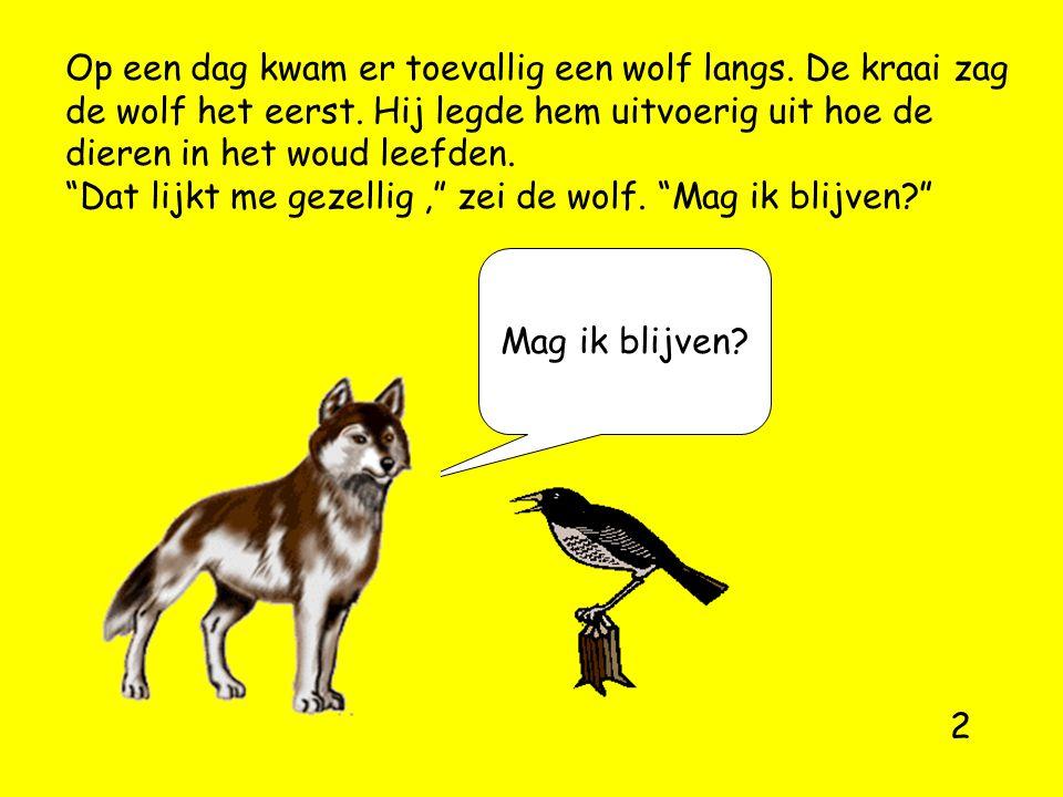 """Op een dag kwam er toevallig een wolf langs. De kraai zag de wolf het eerst. Hij legde hem uitvoerig uit hoe de dieren in het woud leefden. """"Dat lijkt"""