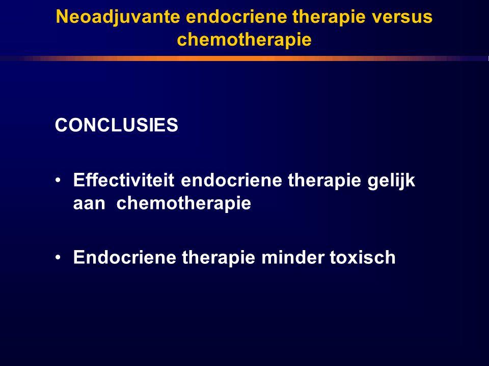 Neoadjuvante endocriene therapie versus chemotherapie CONCLUSIES Effectiviteit endocriene therapie gelijk aan chemotherapie Endocriene therapie minder toxisch