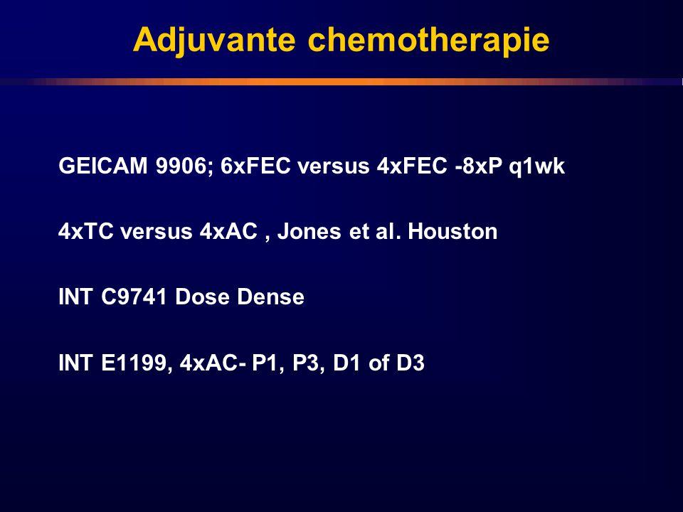 Adjuvante chemotherapie GEICAM 9906; 6xFEC versus 4xFEC -8xP q1wk 4xTC versus 4xAC, Jones et al. Houston INT C9741 Dose Dense INT E1199, 4xAC- P1, P3,