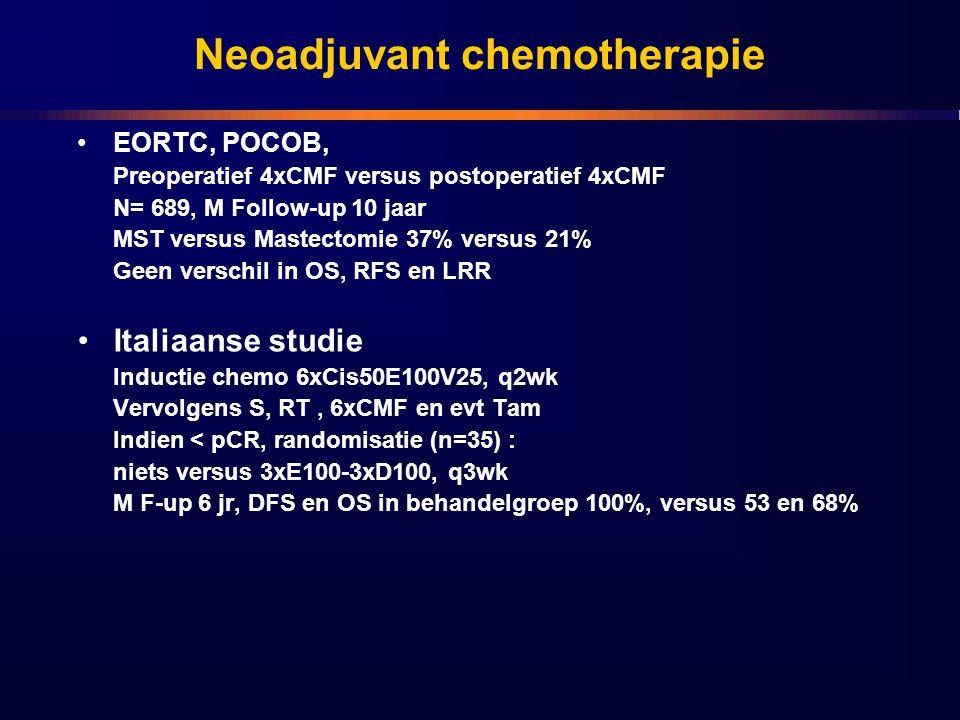 Neoadjuvant chemotherapie EORTC, POCOB, Preoperatief 4xCMF versus postoperatief 4xCMF N= 689, M Follow-up 10 jaar MST versus Mastectomie 37% versus 21