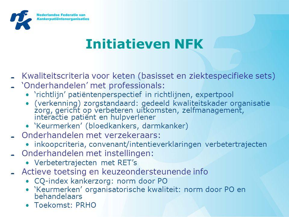 Initiatieven NFK Kwaliteitscriteria voor keten (basisset en ziektespecifieke sets) 'Onderhandelen' met professionals: 'richtlijn' patiëntenperspectief