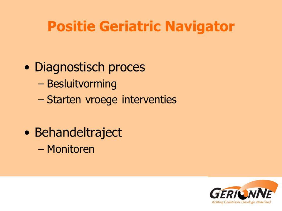 Positie Geriatric Navigator Diagnostisch proces –Besluitvorming –Starten vroege interventies Behandeltraject –Monitoren
