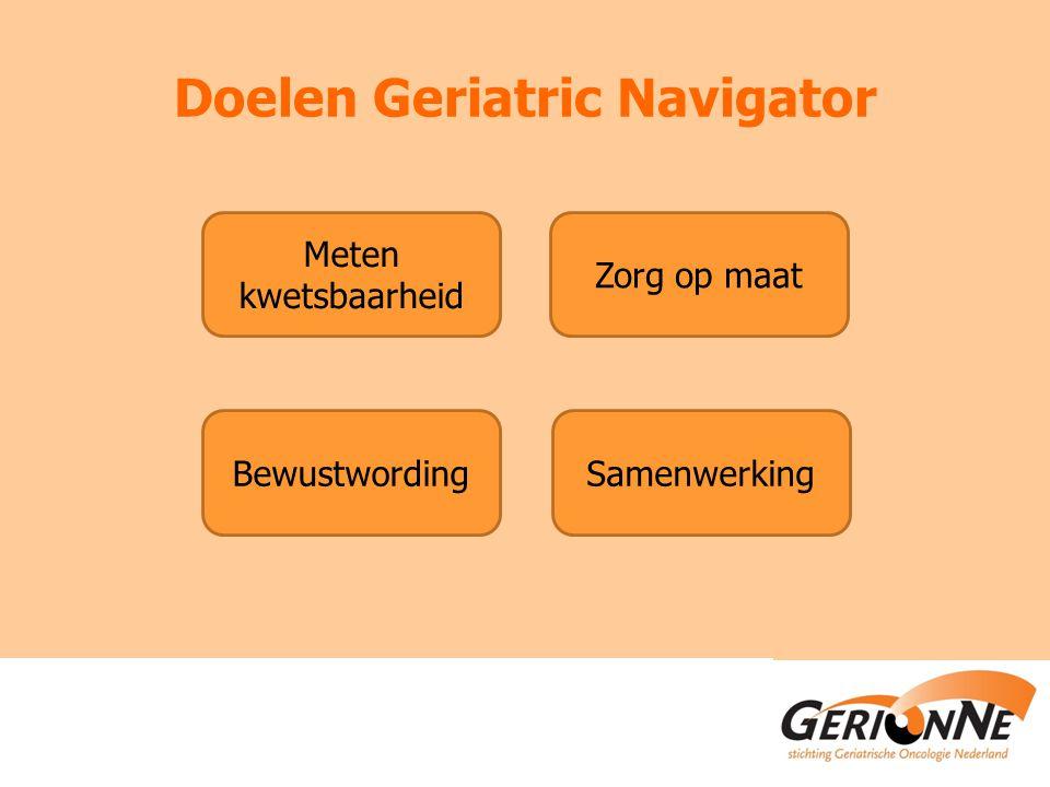 Doelen Geriatric Navigator Meten kwetsbaarheid Zorg op maat BewustwordingSamenwerking