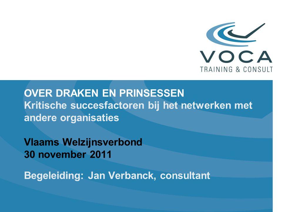 OVER DRAKEN EN PRINSESSEN Kritische succesfactoren bij het netwerken met andere organisaties Vlaams Welzijnsverbond 30 november 2011 Begeleiding: Jan Verbanck, consultant